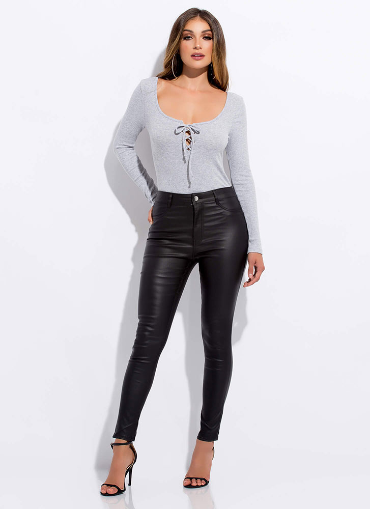 Pull Strings Ribbed Lace-Up Bodysuit GREY