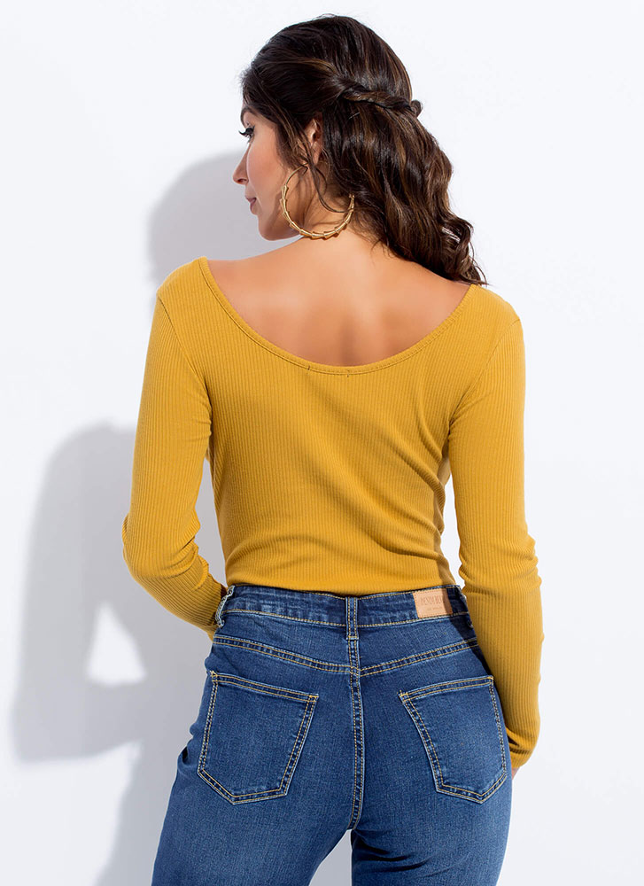 Pull Strings Ribbed Lace-Up Bodysuit MUSTARD