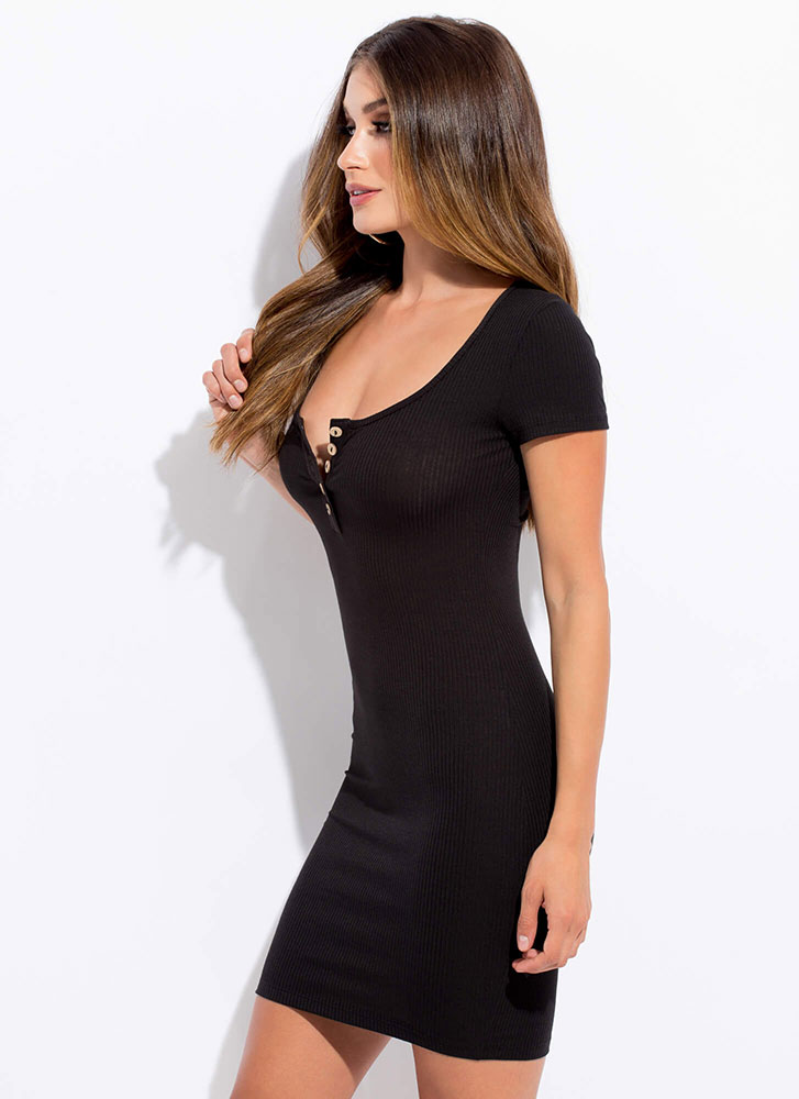 You Decide Buttoned Henley Dress BLACK
