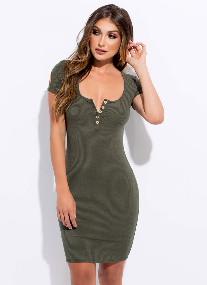 You Decide Buttoned Henley Dress OLIVE