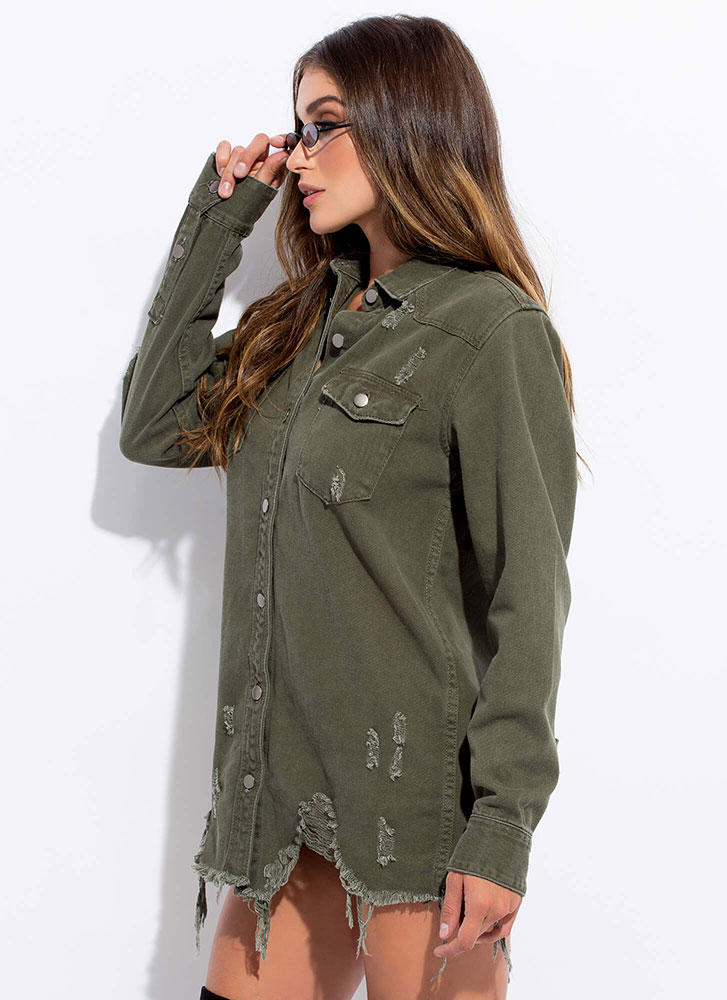 In Distress Destroyed Denim Jean Jacket OLIVE
