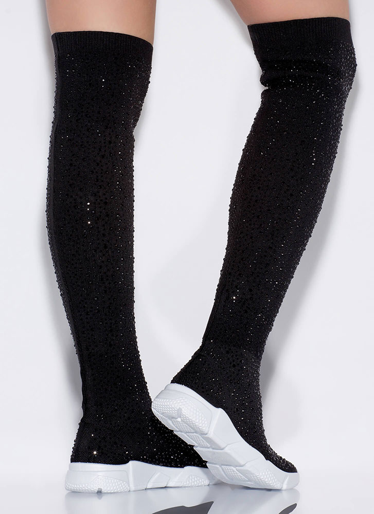 Galaxy Jeweled Thigh-High Sneaker Boots BLACK