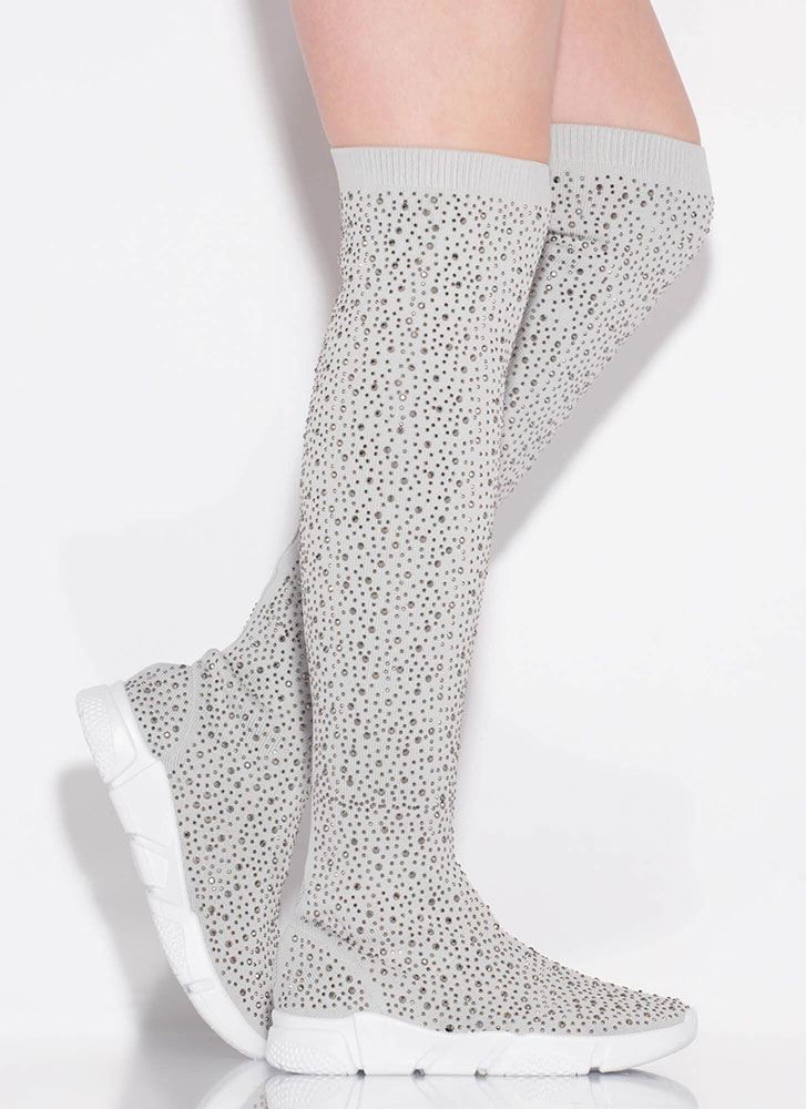 Galaxy Jeweled Thigh-High Sneaker Boots GREY