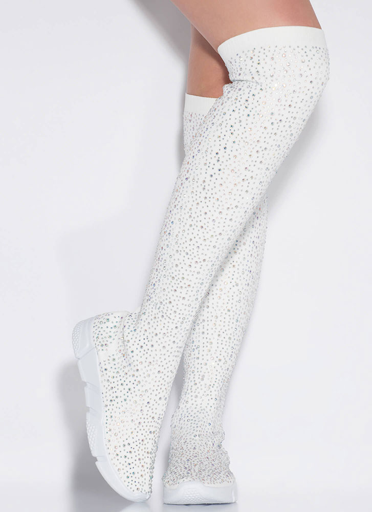 Galaxy Jeweled Thigh-High Sneaker Boots WHITE
