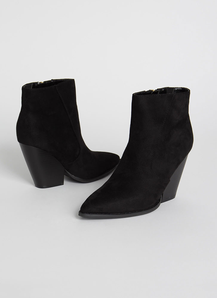 Slippery Slope Pointy Block Heel Booties BLACK (Final Sale)