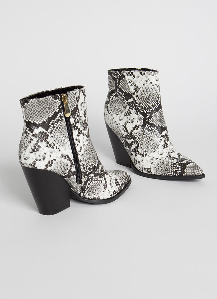 Slippery Slope Block Heel Snake Booties WHITE