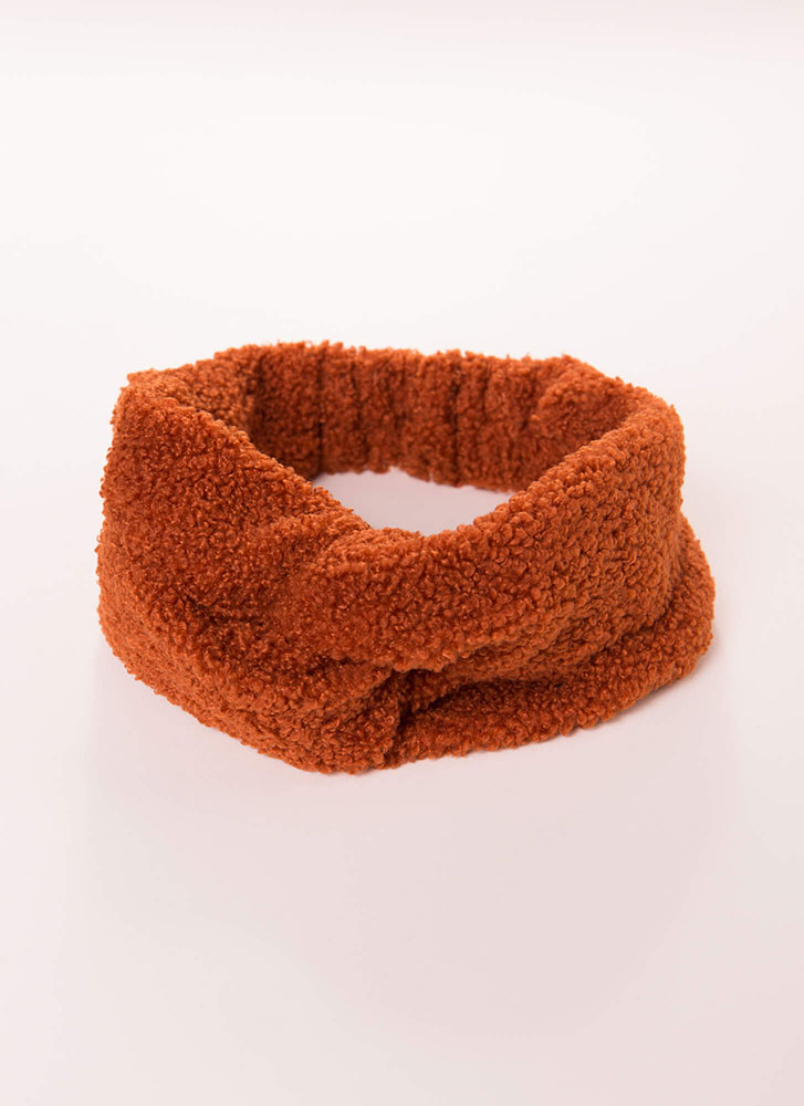 Knot Bad Hair Day Fuzzy Knit Headband TERRACOTTA