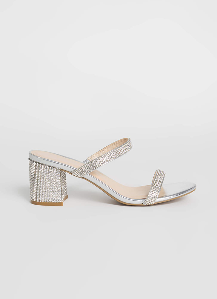 Gleam Metallic Rhinestone Block Heels SILVER (Final Sale)