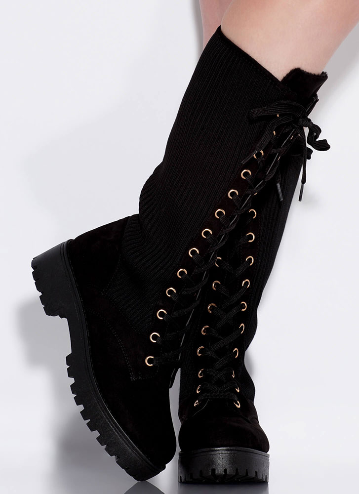Shin It To Win It Laced Rib Knit Boots BLACK