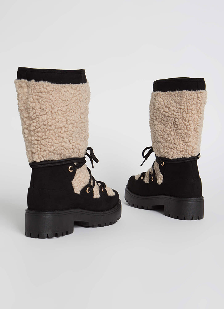 Wild One Faux Shearling Lug Boots BLACK