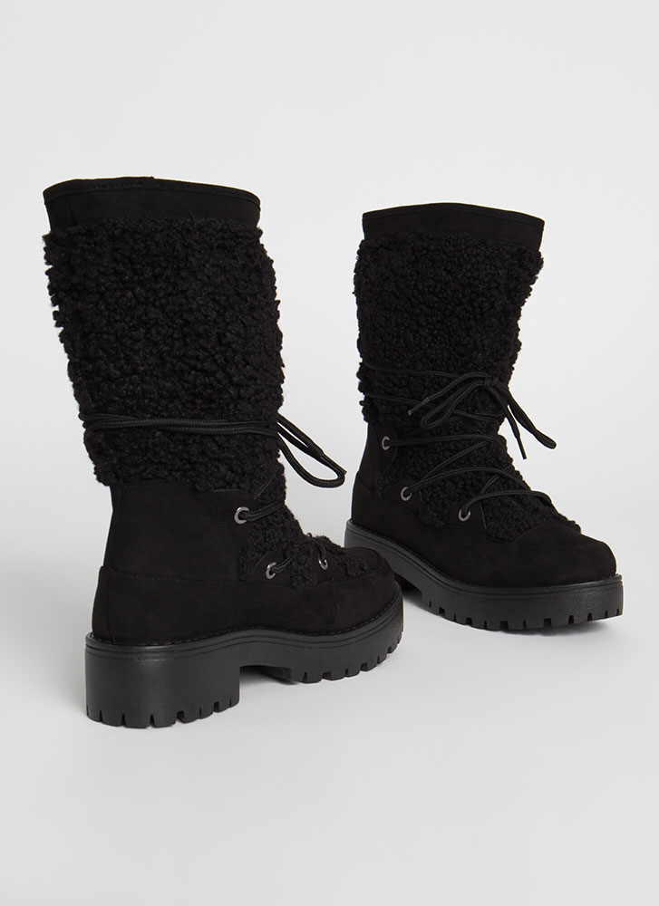Wild One Laced Faux Shearling Boots BLACK