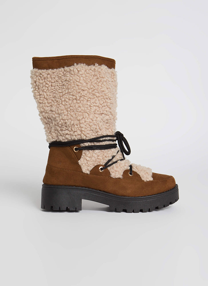 Wild One Laced Faux Shearling Boots TOBACCO