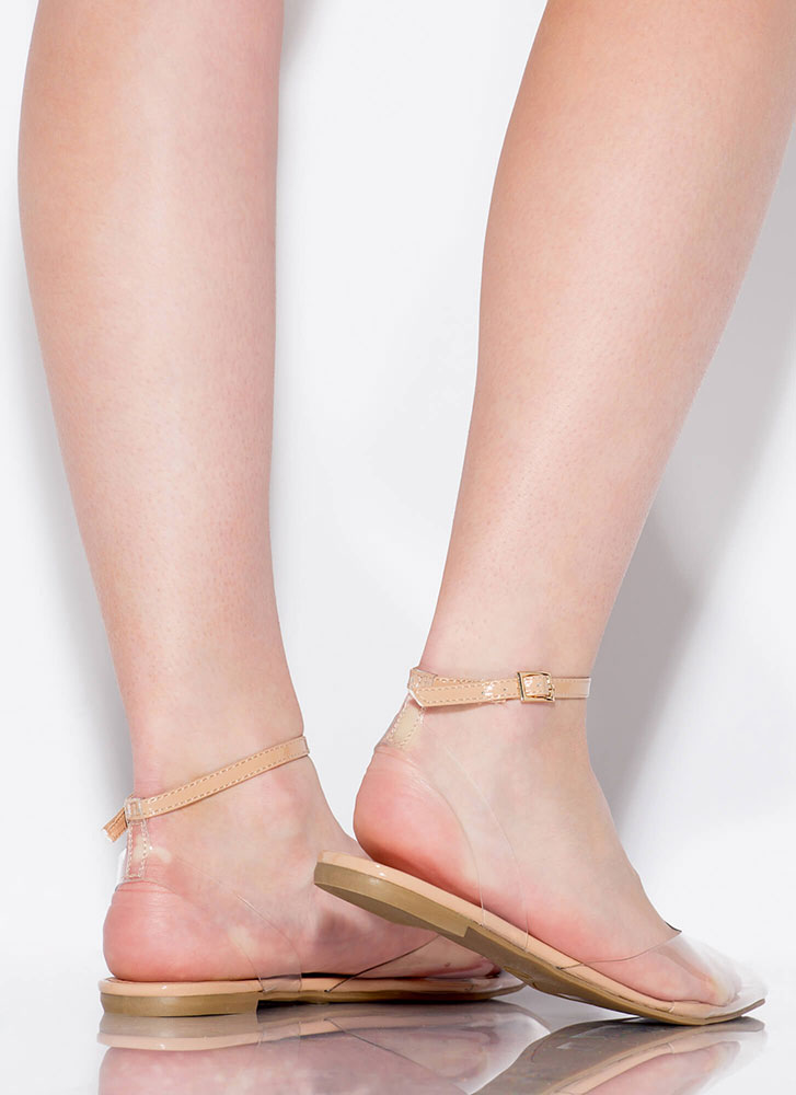 Pedi On Display Clear Ankle Strap Flats NUDE