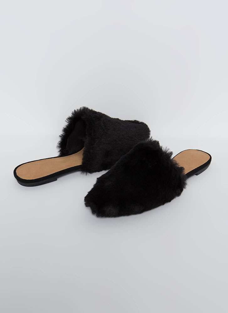 In And Out Faux Fur Mule Flats BLACK
