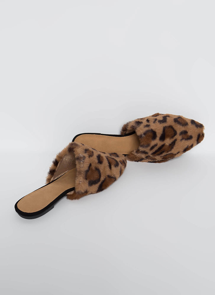 In And Out Faux Fur Mule Flats LEOPARD