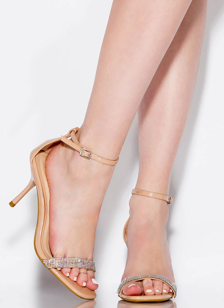 Jeweled Night Out Rhinestone Strap Heels NUDE