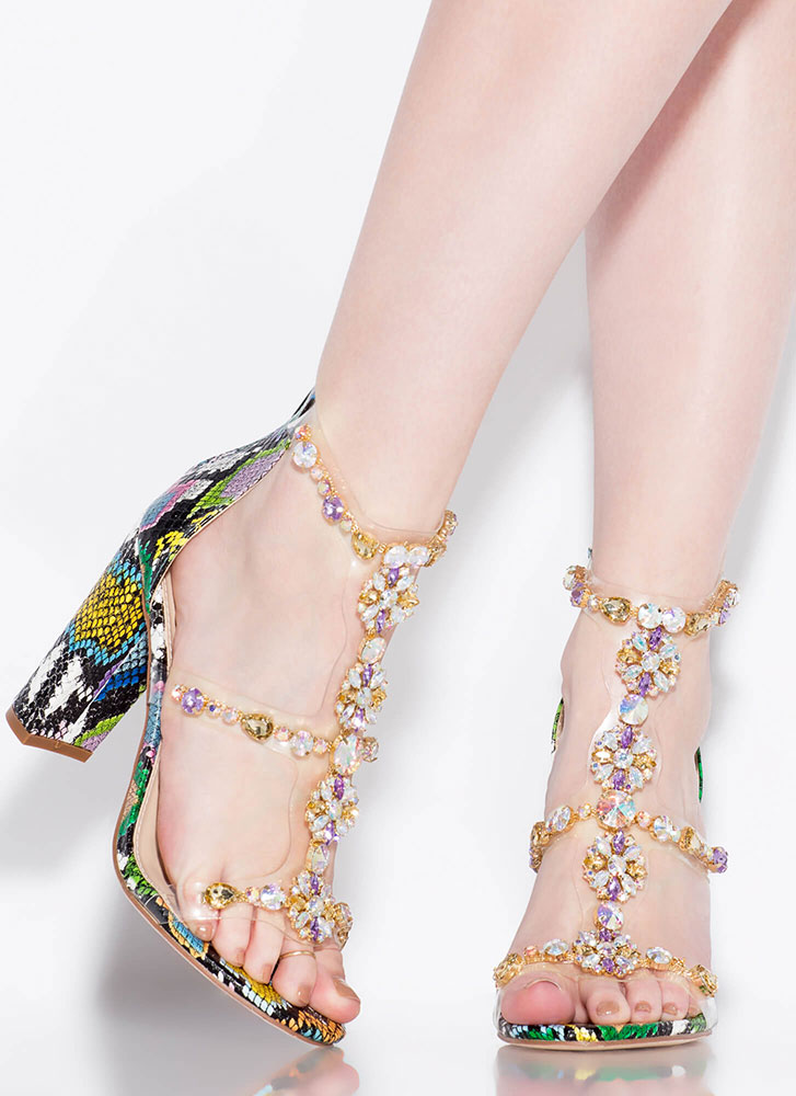 Flower Power Jeweled Snake Print Heels MULTISNAKE