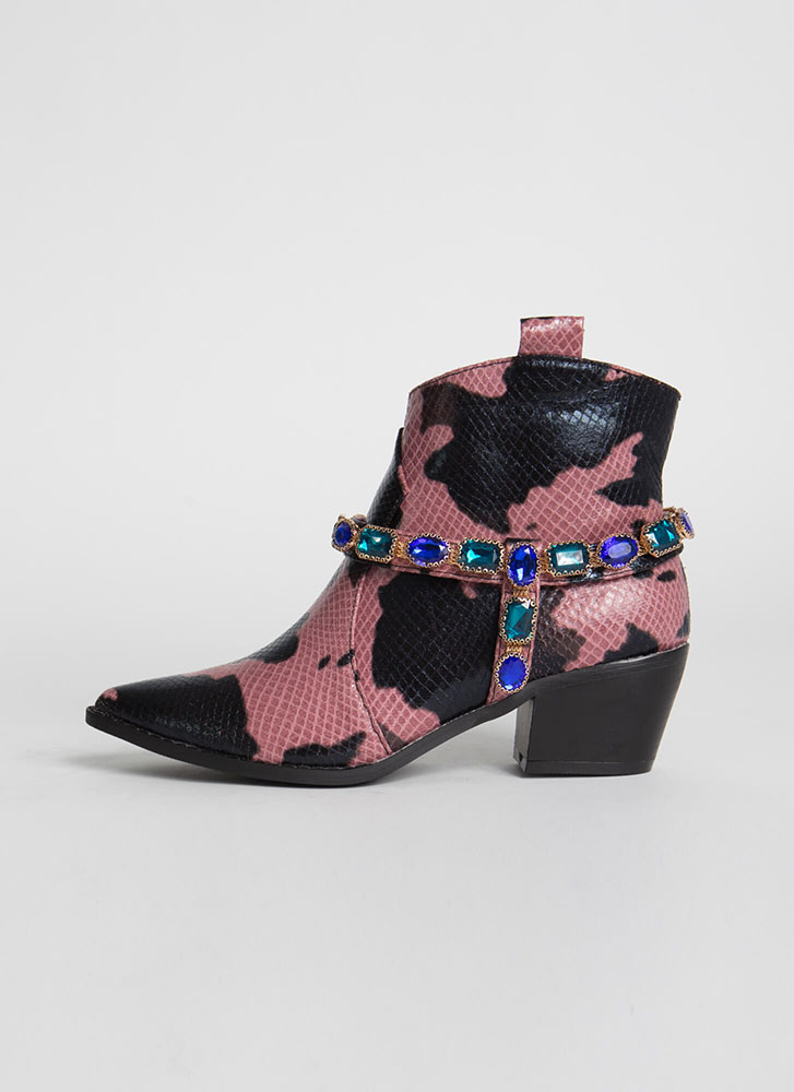 Gemstone Cowgirl Jewel Strap Booties PINK