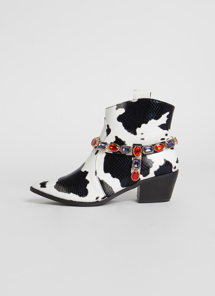 Gemstone Cowgirl Jewel Strap Booties WHITE