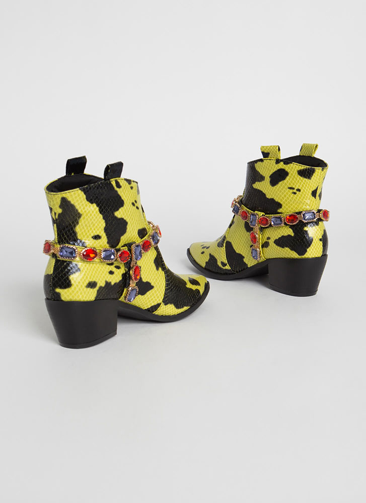 Gemstone Cowgirl Jewel Strap Booties YELLOW