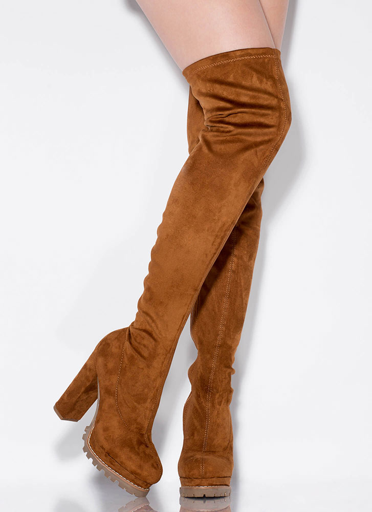 Fall In Lug Chunky Thigh-High Boots TAN (Final Sale)