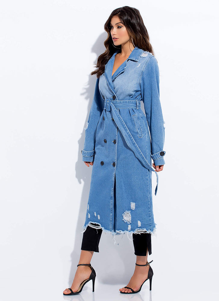 Day Off Distressed Denim Trench Coat BLUE