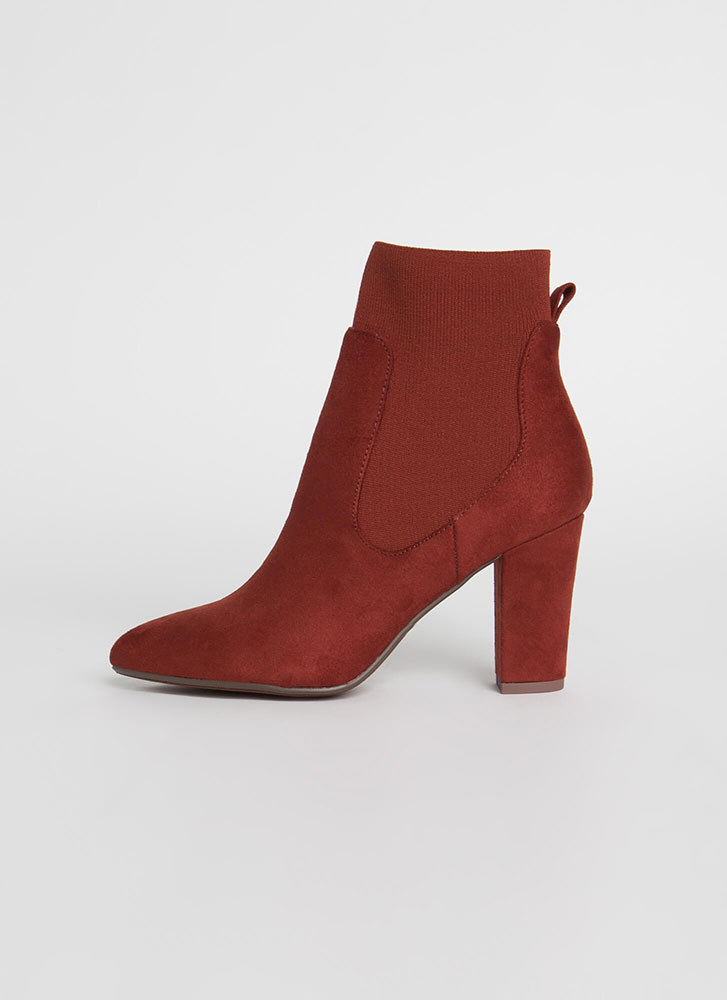 Sock And Roll Chunky Pointy Booties RUST