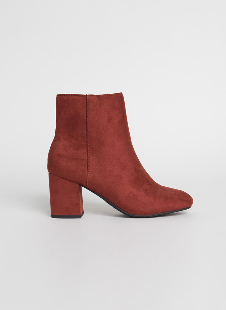 Ready For It Chunky Block Heel Booties RUST