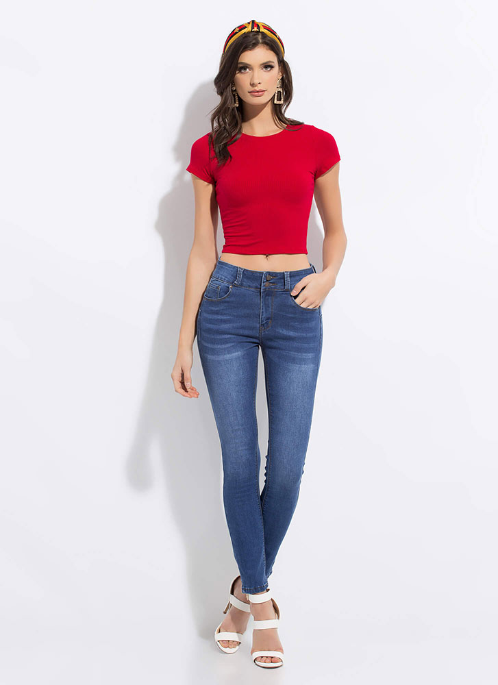 Back To Basics Rib Knit Crop Top RED