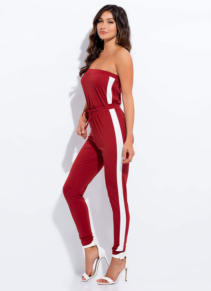 Sporty Girl Strapless Striped Jumpsuit RUST