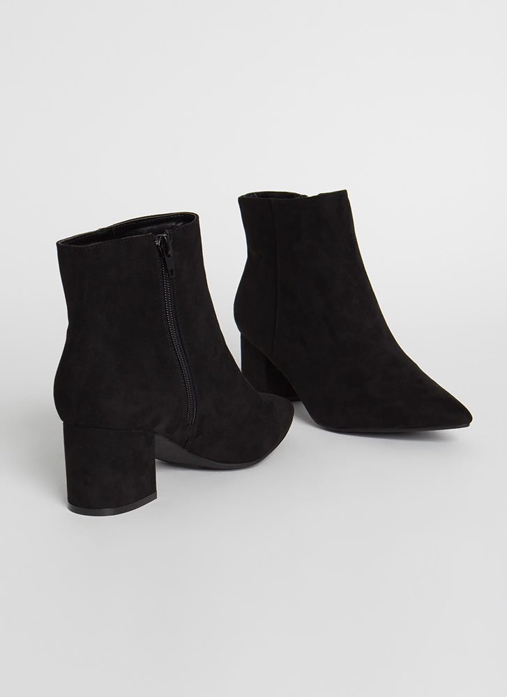 Get Ready Pointy Faux Suede Booties BLACK