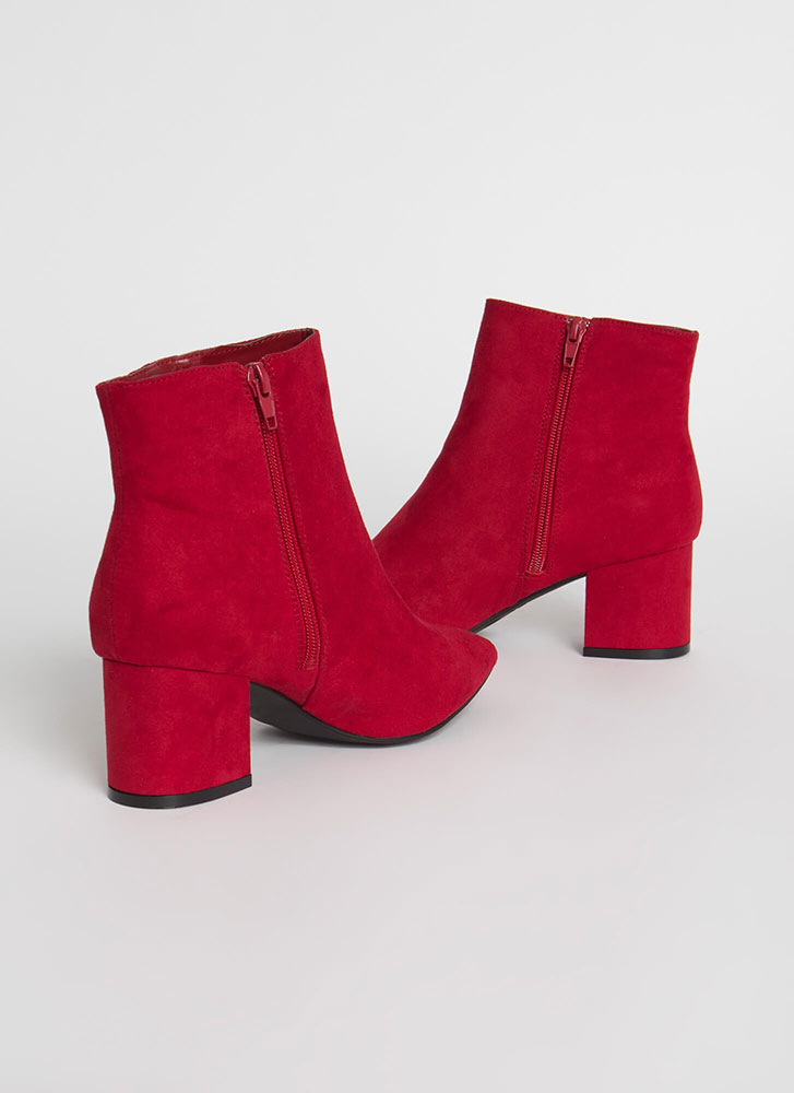 Get Ready Pointy Faux Suede Booties RED