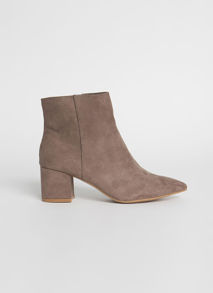 Get Ready Pointy Faux Suede Booties TAUPE