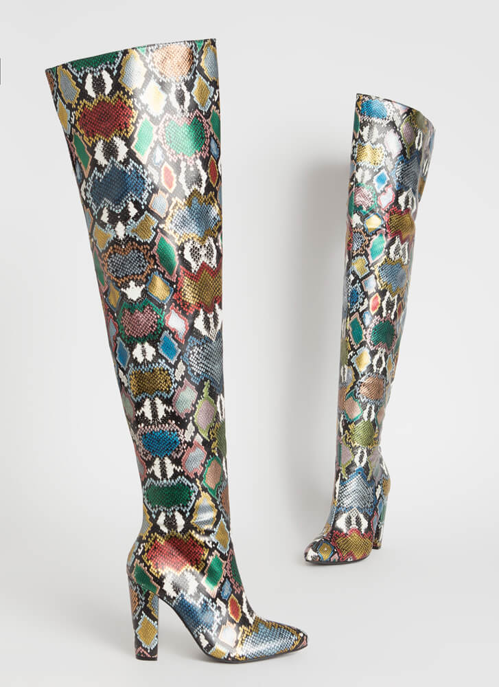 Wide Open Faux Snake Thigh-High Boots MULTIMETALLIC