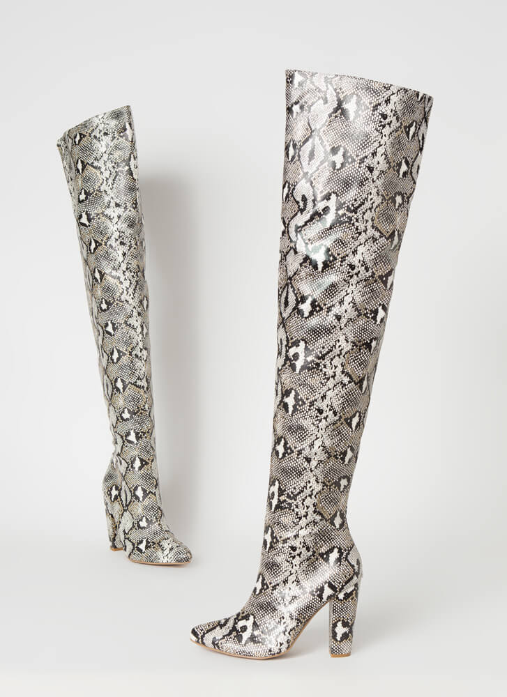 Wide Open Faux Snake Thigh-High Boots SILVER