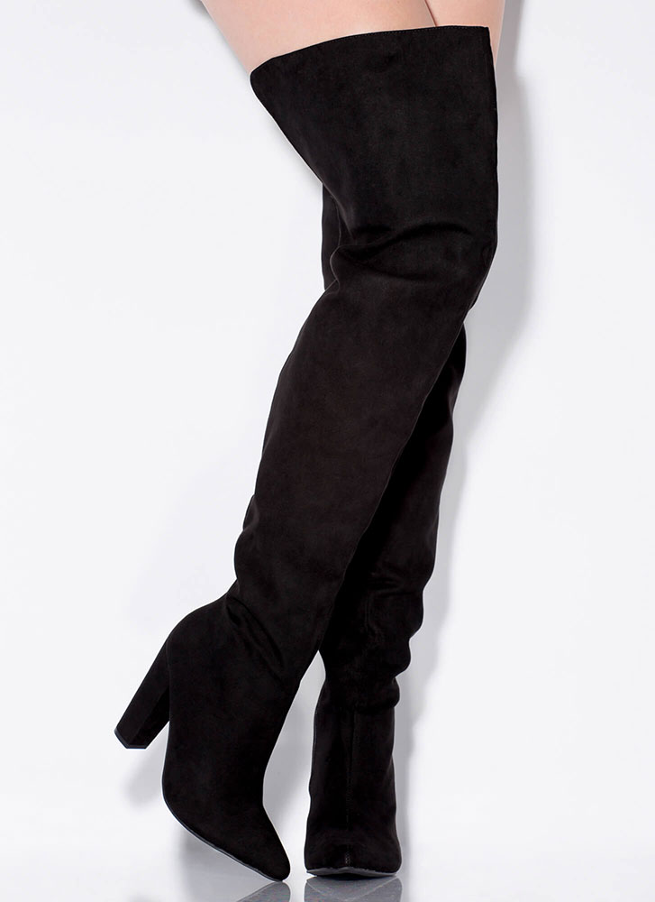 Wide Open Faux Suede Thigh-High Boots BLACK