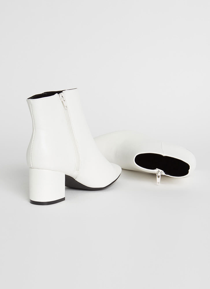 Get Ready Pointy Faux Leather Booties WHITE