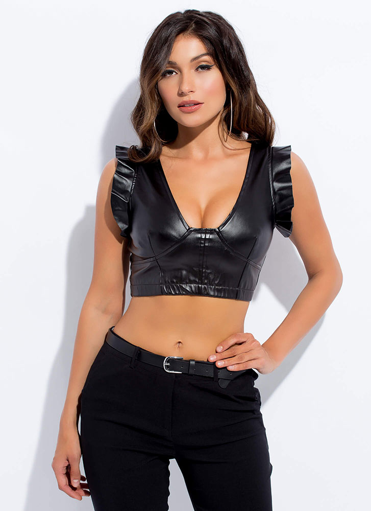 Frills In Faux Leather Ruffled Crop Top BLACK