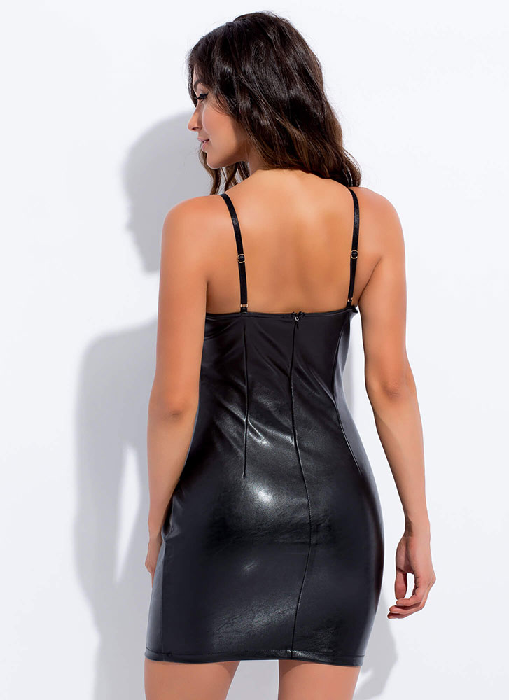 Bad Girl Faux Leather Bustier Minidress BLACK