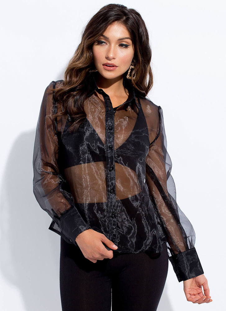 Sheer Chicness Button-Up Organza Blouse BLACK
