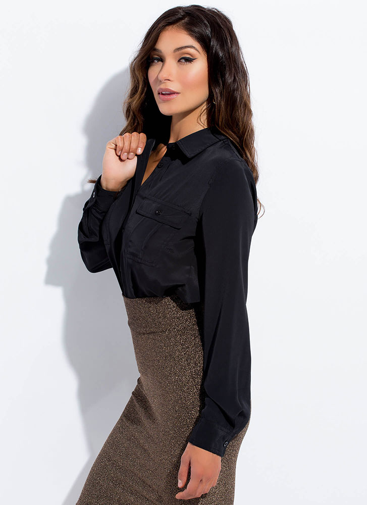 I Need You Pocketed Button-Up Blouse BLACK