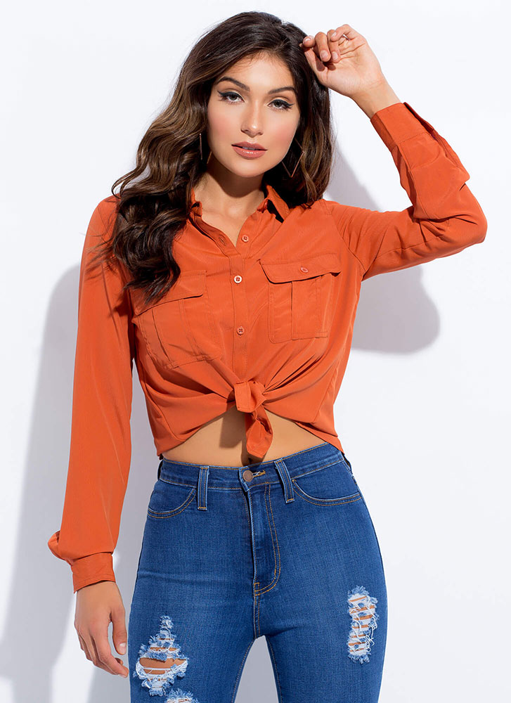 I Need You Pocketed Button-Up Blouse RUST