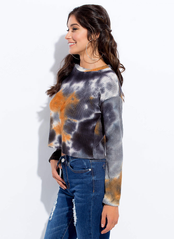Mix Things Up Waffle Knit Tie-Dye Top GREY