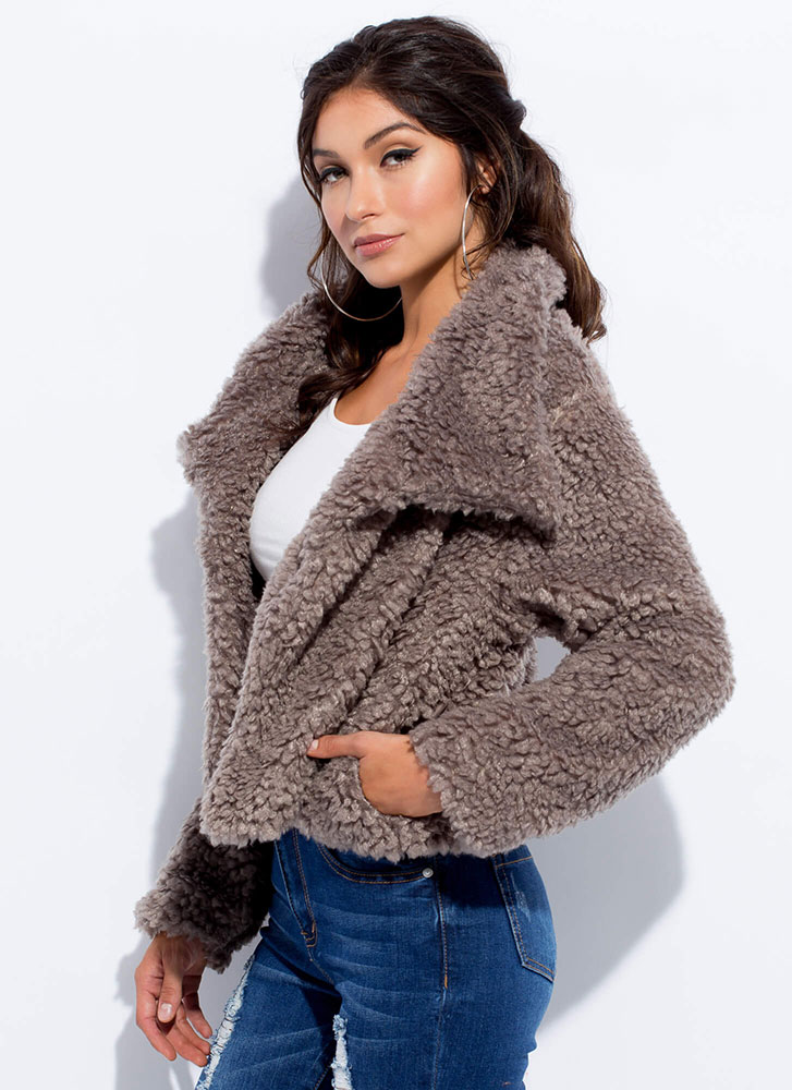 Cuddle Up Faux Shearling Jacket MOCHA