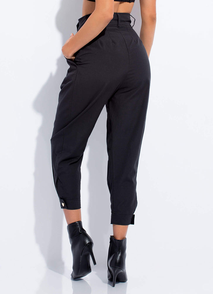 Cool Vibes Only Pleated Tapered Trousers BLACK