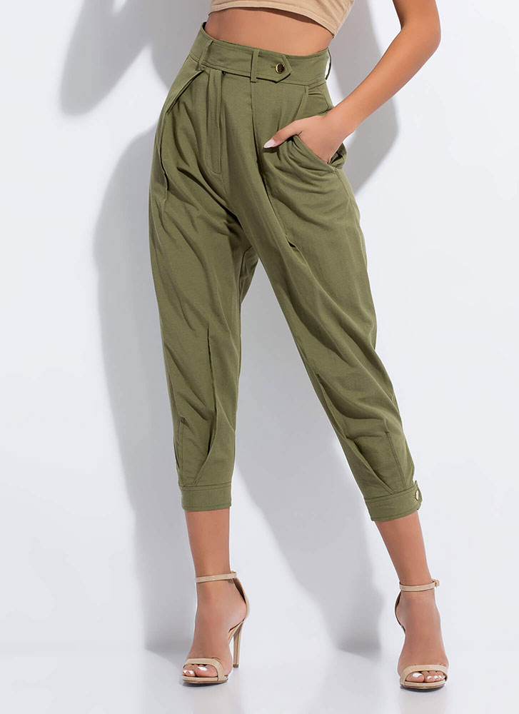 Cool Vibes Only Pleated Tapered Trousers OLIVE