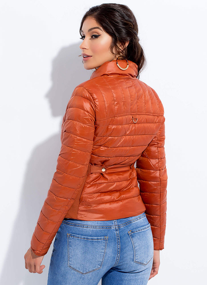 Keep Me Warm Puffy Quilted Jacket RUST