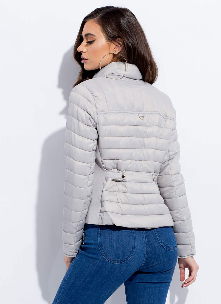 Keep Me Warm Puffy Quilted Jacket SILVER