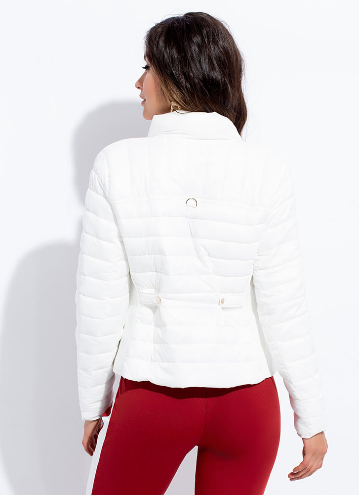 Keep Me Warm Puffy Quilted Jacket WHITE