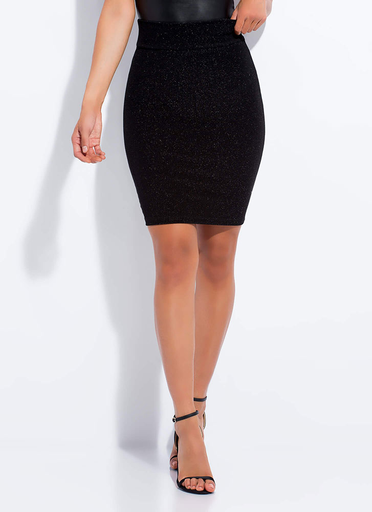 Glittery Night Out Sparkly Pencil Skirt BLACK